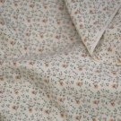 Vintage Calico Cotton Fabric Coral Ecru Sprig Floral Dolls Hitty Bears Quilt