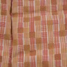 Vintage Retro Cotton Fabric Stripe Squares Orange Yellow Tan Dolls Bears Quilt