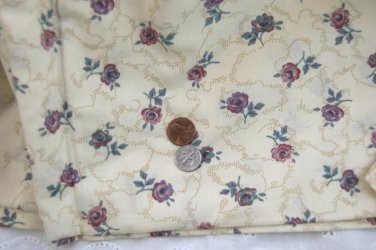VTG Cotton Fabric Cottage Roses Lavender Plum Mauve Sage Bisque Dolls Bear Quilt