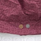 VTG Cotton Fabric Paisley Print Red Burgundy Mauve Bisque Dolls Hitty Bears