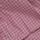 VTG 100% Cotton Fabric Windowpane Check Mauve Rose White Dolls Bisque Bears NOS