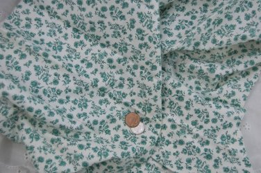 Vtg Calico Cotton Fabric Green White Floral Roses Bisque FRENCH FASHION BLEUETTE