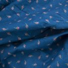 VTG Calico Cotton Fabric Blue Pink Rose Buds Print Bisque FRENCH HITTY BLEUETTE
