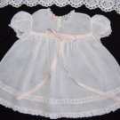 VTG 40's Baby Girls Dress 9-12 mo COTTON ORGANDY Smocked White Pink YOLANDE