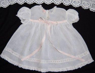 VTG 40's Baby Girls Dress 9-12 mo COTTON ORGANDY Smocked White Pink YOLANDE