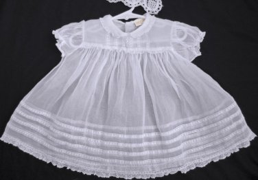 VTG 40's Baby Dress CELESTE N.Y. White Cotton ORGANDY size 18 Months French