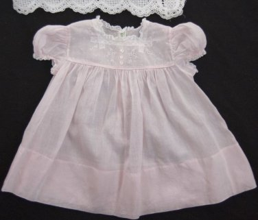 VTG Feltman Brothers Girls Dress 3-6 month PINK Batiste Embroidery French Lace