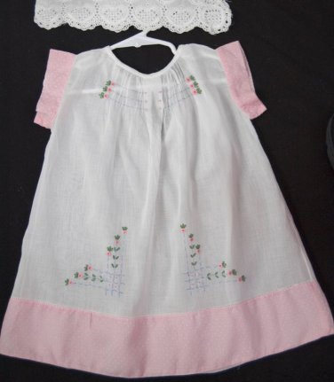 VTG Antique 30's 40's Girls Dress Cotton Dotted Swiss Embroidery White Pink EUC