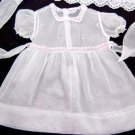 VTG 50's Baby Girls Dress COTTON ORGANDY Swiss Embroidery White Pink EUC