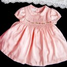 Baby Girls SILK Dress 6-9 months Peach Pink Smocked Embroidery Reborn Doll EUC