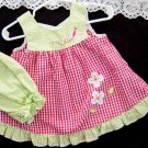 Baby Girls Dress Set Cotton Blend Seersucker Size 6 months Lime Green Red Check