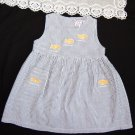 VTG Girls Sun Dress Nautical White Blue Striped Seersucker Size 3T CC. BATES