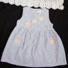 VTG Girls Sun Dress Nautical White Blue Striped Seersucker Size 3T CC. BATES