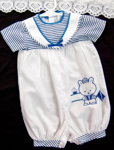 Baby Boys VTG Romper Bubble Size 12 months White Blue Striped Sailor Nautical