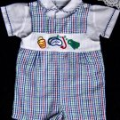 Boys VTG Romper Sunsuit Shirt Size 18 months Seersucker Set Red White Blue Beach