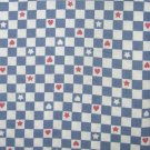 VTG Cotton Fabric Blue White Check Stars Red Hearts Dolls Bisque Bears Unused