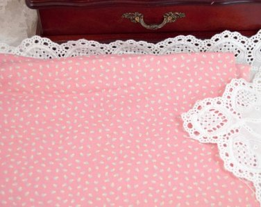 Vtg 70's 100% Cotton Fabric Floral Print Dusty Pink Yellow Dolls Quilts Bears