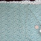 Vtg Calico Cotton Fabric Teal Blue Floral Print French Dolls Bleuette Quilt