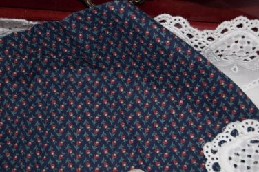 Vintage Cotton Fabric Blue Red Tiny Calico Floral Leaf Dolls Hitty French Quilts