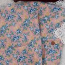 Vtg 100% Cotton Fabric Floral Peony Blue Mauve Shabby Chic Dolls Quilts NOS