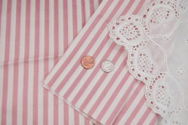 Vtg Cotton Chintz Fabric Stripes Shabby Pink White Dolls Hitty French Bisque