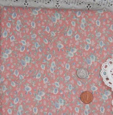 Vtg 100% Cotton Fabric Floral Morning Glory Print Mauve Blue Dolls Quilts Bears