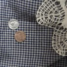 VTG FABRIC HOMESPUN Tiny NAVY BLUE CHECK Hitty Bisque French German China Doll