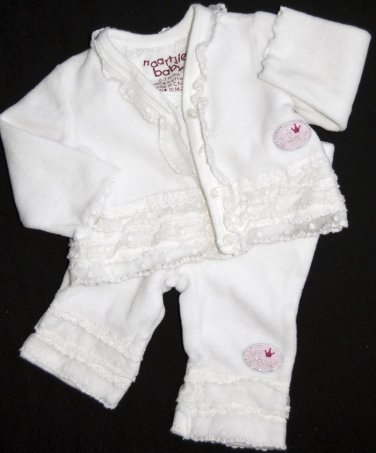 0-3 months Girls Top Pants BOUTIQUE NAARTJIE Outfit White COTTON Lace EUC