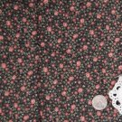 Vtg Cotton Fabric Tiny Calico Floral Mauve Black Green Hitty Dolls Bisque French