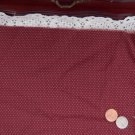 Vtg Red Wine Ecru Cotton Fabric Tiny Dots Antique Bisque Bleuette China Dolls