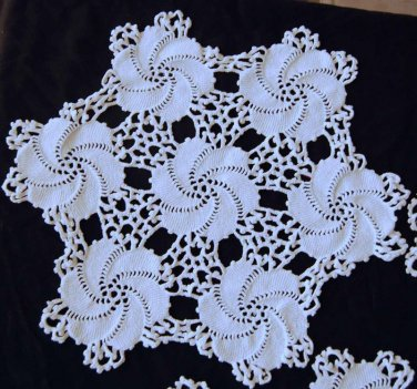 Vtg Matching Crochet Doilies Sofa Chair Pinwheel Wheel White Cotton Lot