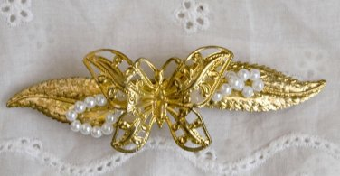 Vintage Hair Barrette 1970's Pearls BUTTERFLY FILIGREE GOLD TONE Metal SHOWY