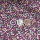 Vtg Cotton Floral Fabric Print 1/2 yd FRENCH BISQUE BLEUETTE Pink Blue Dolls