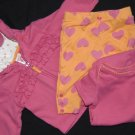 Girls sz 0-3 Months Hoodie Leggings Bodysuit CARTERS PINK ORANGE 100% Cotton