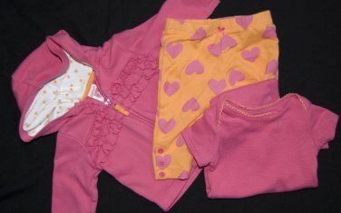 Girls sz 0-3 Months Hoodie Leggings Bodysuit CARTERS PINK ORANGE 100% Cotton