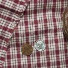 Vtg Homespun Cotton Fabric Red 4 French German Doll Hitty Bleuette Dress