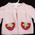 Baby Girls 0-3 months Sweater Gymboree Little Strawberry Cardigan Pink Spring
