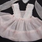 VTG 50's Girls PINAFORE Dress PINK COTTON  ORGANDY Swiss Embroidery French Lace