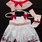 Gymboree Girls Sailor Baby Dress Hat Socks size 0 3-6 months Red Outfit Cotton