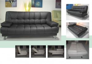 ONE NEW CONTEMPORARY CARESOFT FUTON SOFA BED, ITEM#3510, BLACK