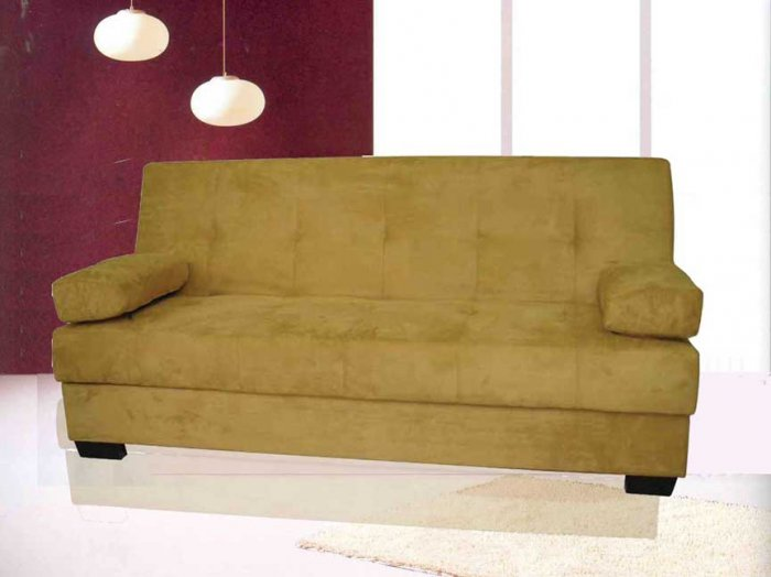 ONE NEW CONTEMPORARY MICROFIBER  FUTON SOFA BED, ITEM# 3570, BROWN
