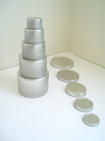 Set of 5 Tin Containers for Montessori Sensory Learning
