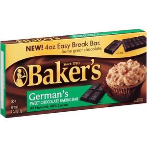 Baker's German's sweet baking chocolate bar 4 oz(Pack of 6)