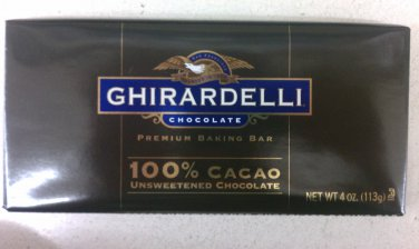 Ghirardelli unsweetened Chocolate Baking Bar 100% Cocao 4 oz (Pack of 10)
