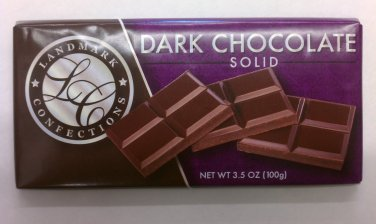 Landmark Confections Dark Chocolate Solid bar 3.5 oz (Pack of 6)