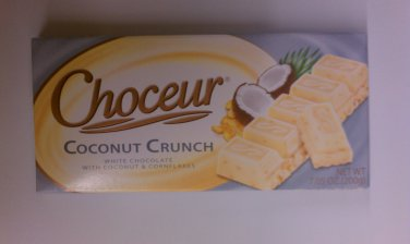 Choceur White Chocolate Bar-- Coconut Crunch 7.05 oz (Pack of 6)