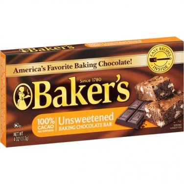 Baker's Unsweetened Baking Chocolate Bar 4 oz (Pack of 6)
