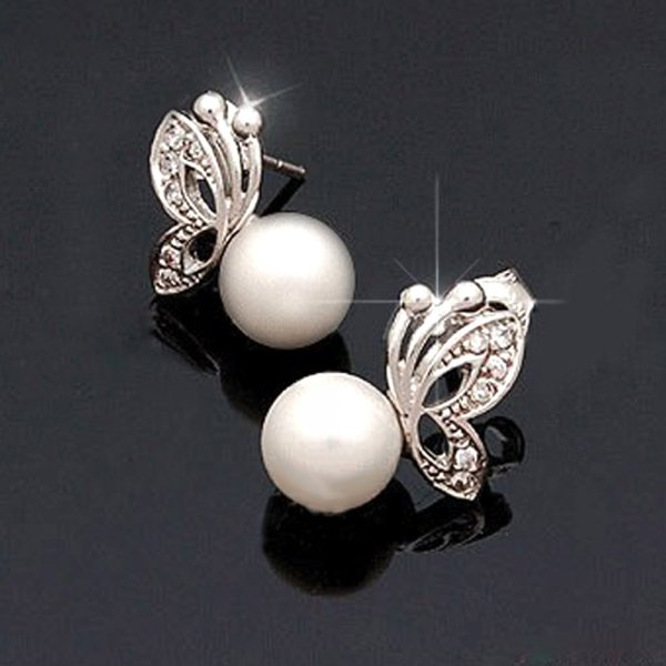 Gorgeous Pearl Alloy Butterfly Stud Earrings