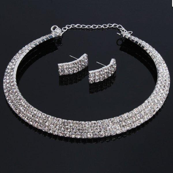 Wedding / Bridal Three Rows Rhinestone Necklace Choker Earring Set