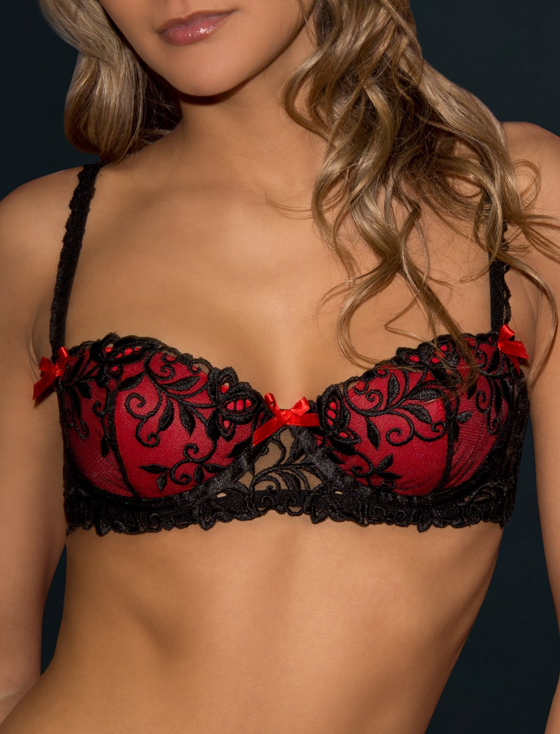 Peche red/black padded bra. Made in France 32A